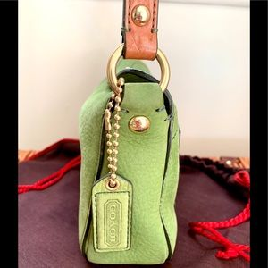 COACH Bags - COACH-ALMOST NEW Pebbled Green Leather Mini Purse